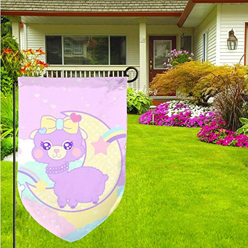 Cute Pink Llama Home Garden Flag Vertical Double Sided Spring Summer Yard Outdoor Decorative 12 X 18 Inch (33 1 3 Pink Flag)