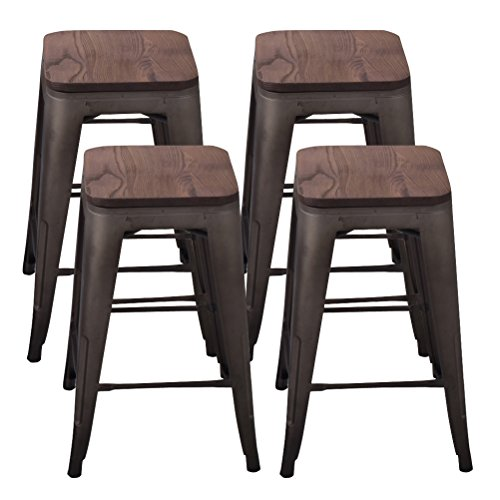 Tongli Metal Barstool Counter Industrial Patio Dining Chair for Indoor-Outdoor Wooden Backless(set of 4) 24