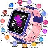 Smart Watch for Kids GPS Tracker - IP67 Waterproof Smartwatches with SOS Voice Chat Camera Flashlight Alarm Clock Digital Wrist Watch Smartwatch Girls Boys Birthday Gifts (02 Waterproof Pink)