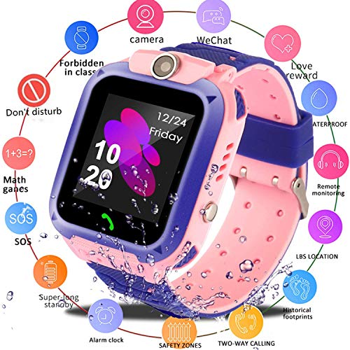 Smart Watch for Kids GPS Tracker - IP67 Waterproof Smartwatches with SOS Voice Chat Camera Flashlight Alarm Clock Digital Wrist Watch Smartwatch Girls Boys Birthday Gifts (02 Waterproof Pink)