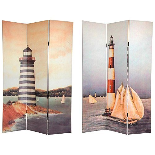 Oriental Furniture 6 ft. Tall Double Sided Lighthouses Canvas Room Divider by ORIENTAL (Lighthouse Room Divider)