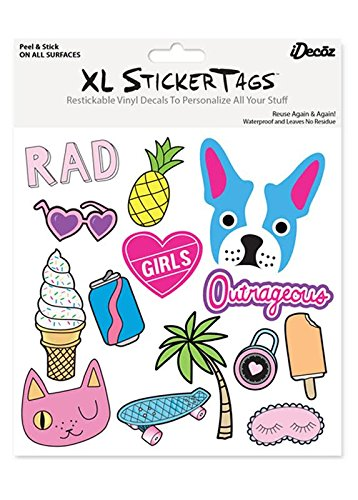 iDecoz Girls Reusable Large Vinyl Decal Sticker Sheet for Your Laptop / MacBook / Pro / Air / iPad / Tablet / Window / Wall / Floor / Luggage / Water Bottle / Car & MORE!