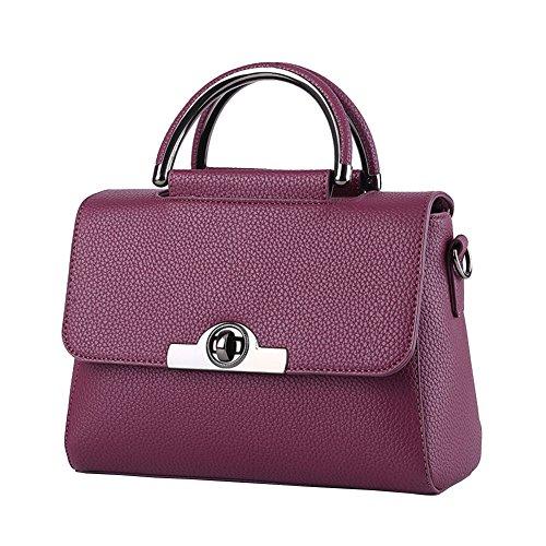 Couleur Bandoulière Mode Main Sac Sac Femmes à Dark à PU Crossbody Pure Violet Petit Sac Cuir X8PwHq
