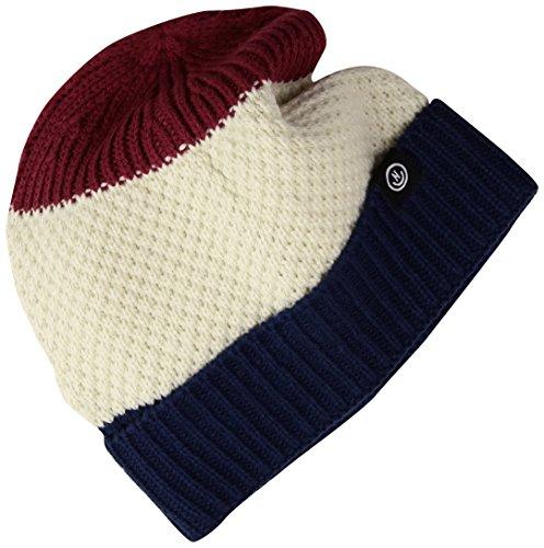 NEFF Men's Scrappy Knit Slouchy Beanie, Maroon/Bone/Navy, One Size ()