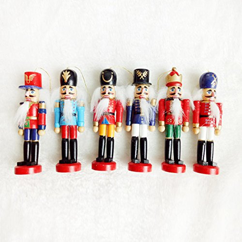 BlueSpace Christmas Nutcracker Ornaments Set Wooden Nutcrackers Hanging Decorations for Christmas Tree Figures Puppet Toy Gifts (5'', Set of 6pcs) by BlueSpace (Image #1)