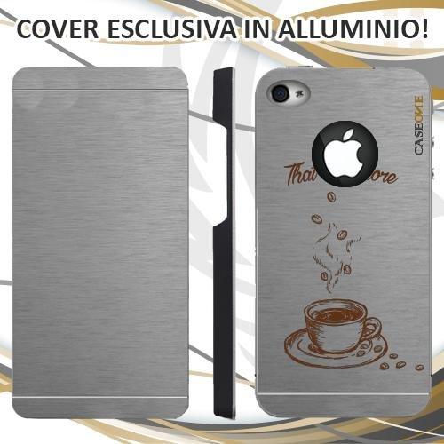 CUSTODIA COVER CASE THATS AMORE CAFFE PER IPHONE 4 ALLUMINIO TRASPARENTE