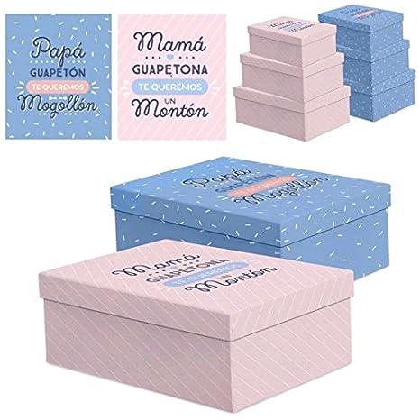UNIMASA - Juego 3 cajas regalo diseño Papa o Mama - Azul: Amazon.es: Hogar