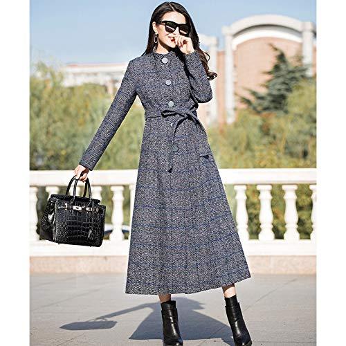 C Vintage Scozzese Allentato Parka Cappotti Trench Lavoro Donna Abbigliamento Moda Lunghi Rosso Cappotto Blu Invernale Marrone qxwnZBvgT