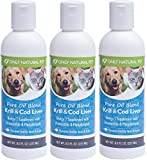 Only Natural Pet Pure Krill & Cod Liver Oil Blend for Dogs and Cats - Omega 3 DHA and EPA Fish Oil for Dogs Daily Vitamin Supplement -Essential Fatty Acid And Antioxidant Rich - 8 Fl Oz Bottle 3 Pack
