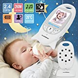 FLOUREON Wireless 2.4 GHz Baby Monitor Digital Video Audio Nanny Security Camera Babyphone with 2.0 inch LCD Screen Monitor Room Temperature Two Way Talk Radio Night Vision