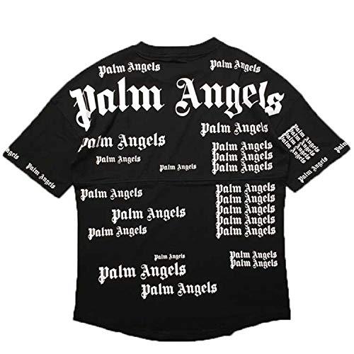 Fly far NEWSS Palm Angels Letter Printing Men Women T Shirt Hip Hop (Small, ()