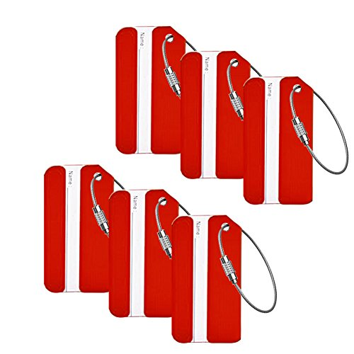 HOLLY TRIP Luggage Tags, Aluminium Bag Label Travel ID Identifier Labels Tag For Baggage Suitcase Bags,6 Pack Red ()