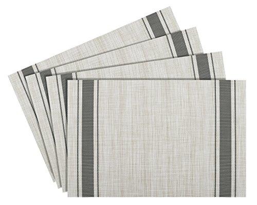 NUOVOWARE Placemats, [4 PACK] 30 x 45 cm Premium Exquisite Crossweave Stain Resistant Heat-resistant Non-slip Textilene Woven Plaid Kitchen Table Dining Mat Pads Place Mats, Mint Grey