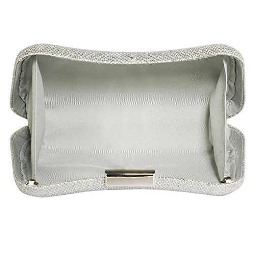Evening Sparkly Night Prom Purse For Pary Out CWE00286 Bag Clutch LeahWard Silver Women's qFxwHRFE
