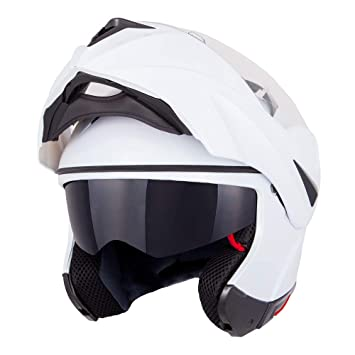 2fccfb2d Vinz Flip Front Motorcycle Helmet | Flip-up Helmet | Pinlock Ready | White  | with Sun Visor: Amazon.co.uk: Car & Motorbike