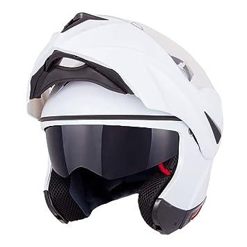 Casco con parasol de Vinz, color blanco, casco integral para moto, película Pinlock