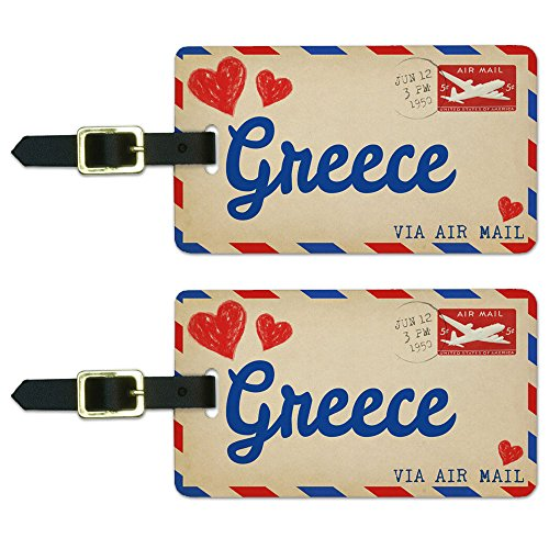 Graphics & More Air Mail Postcard Love for Greece Luggage Suitcase Carry-on Id Tags, White