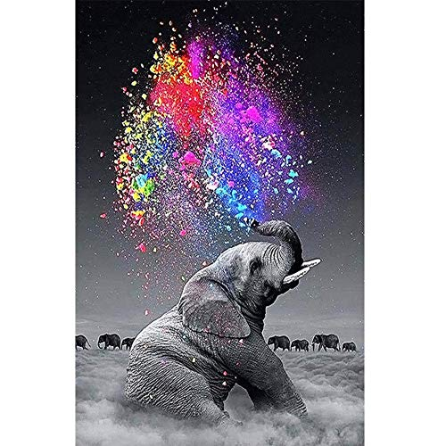 DIY 5D Diamond Painting Kit,Full Dril Elephant Painting Living Room Study Shower Room Painting Wall Home Decoration Cross Stitch Art Craft Work (For Decorations Elephant Home)