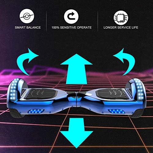 GeekMe Gyropode 6.5 Pouce Hoverboard électrique Auto-équilibré Bluetooth Intégré Moteur 700W pour Enfants et Adultes