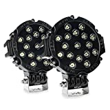 """Nilight 2PCS 51w 7"""" Spot Round Led Lights Off Road Fog Light Driving Roof LED Light Bar Bumper for SUV Boat Jeep Lamp, 2 years Warranty"""