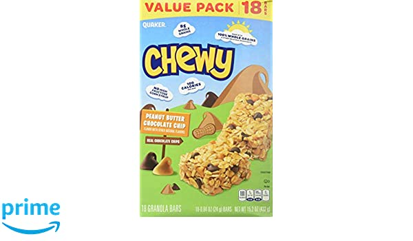 Quaker Chewy Peanut Butter Chocolate Chip, 18 Count