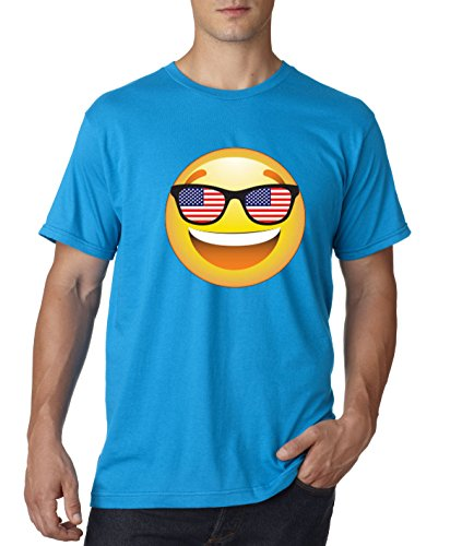 T-Shirt Emoji Smiley Face USA American Flag Sunglasses 4th July 4XL Sapphire ()