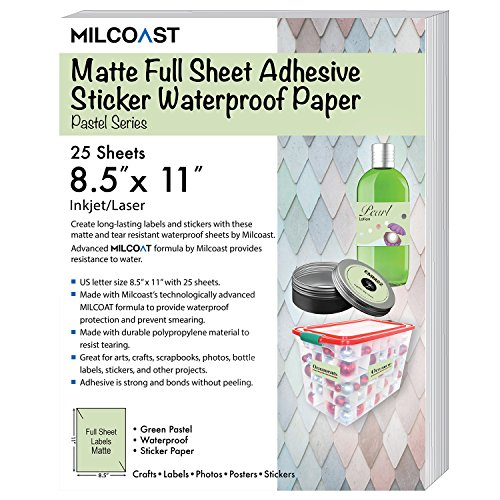 "Milcoast Matte Colored Full Sheet 8.5 x 11"" Adhesive Tear Resistant Waterproof Photo Craft Paper – for Inkjet/Laser Printers (25 Sheets, Pastel Green) ()"
