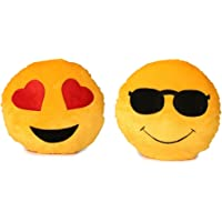 Deals India Heart Eyes Smiley and Cool Dude Smiley Cushion, Yellow