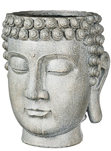 Sullivans PR2389 Decorative Buddha Head Zen Planter Flower Pots or Storage Container, Gray, 14 x 13 x 17 Inches