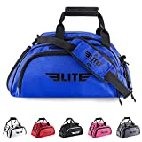 Elite Sports NEW ITEM Warrior Series Boxing MMA BJJ Gear Gym Duffel Backpack Bag (Blue, Large)