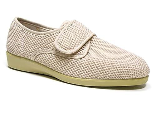 Zapatilla Mujer Calle DOCTOR CUTILLAS en Tejido Licra Color Beige, Cierre Velcro - Ancho Especial - 10201-333: Amazon.es: Zapatos y complementos