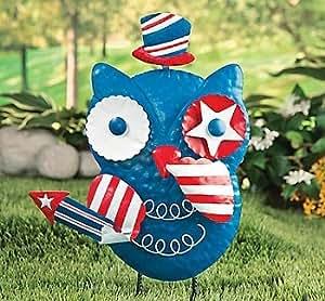 Patriotic Owl Metal Yard Art Statue or Wall Decor