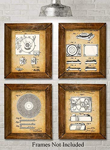 Original Record Players Patent Art Prints - Set of Four Photos (8x10) Unframed - Makes a Great Gift Under $20 for Vinyl Lovers and - Vintage Sheet Sets Music