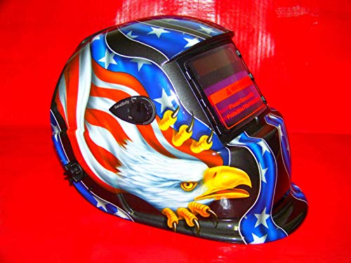 KCHEX>WELDING HELMET SOLAR MIG MASK AUTO DARKENING AMERICAN EAGLE STARS FLAG>MOULDED POLYCARBONATE CONSTRUCTION IN FULL CONFORMITY WITH CE AND ANSI 0196 C E OUTSIDE SHADE NUMBER AND SENSITIVITY