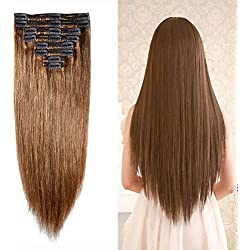 "Double Weft 100% Remy Human Hair Clip in Extensions Grade 7A Quality 14''-22'' Full Head Thick Long Soft Silky Straight 8pcs 18clips for Women Fashion (16"" / 16 inch 130g , #6 Light Brown)"