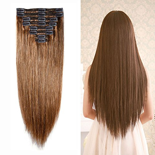 #6 Double Weft 100% Remy Human Hair Clip in Extensions Light Brown 10''-22'' Grade 7A Quality Full Head Thick Long Short Straight 8pcs 18clips for Women Beauty 12