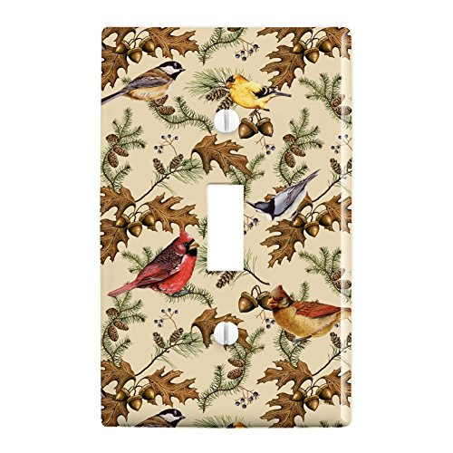 Graphics and More Birds Songbirds Oak Leaves Acorns Pinecones Autumn Fall Plastic Wall Decor Toggle Light Switch Plate Cover ()
