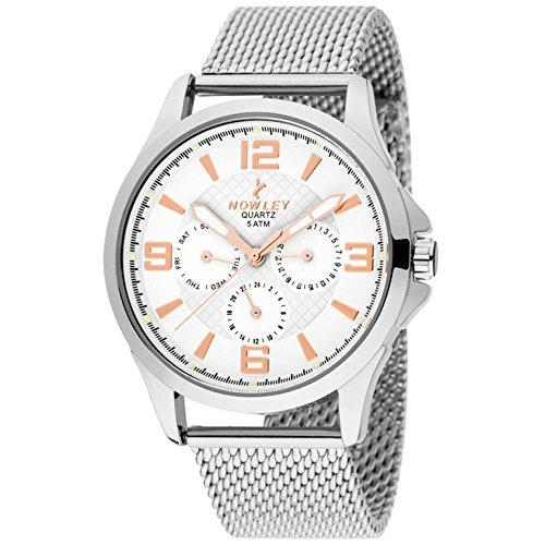 Reloj NOWLEY 8-5575-0-4 - Reloj hombre multifunción, 5 atm, con caja de metal plateado y correa de esterilla en acero.: Amazon.es: Relojes