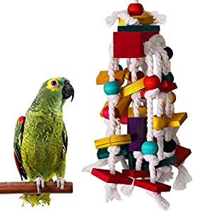 RYPET Bird Chewing Toy - Parrot Cage Bite Toys Wooden Block Bird Parrot Toys for Small and Medium Parrots and Birds 4