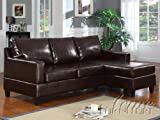 ACME 15915 Vogue Reversible Chaise Sectional Sofa with Espresso Bonded Leather