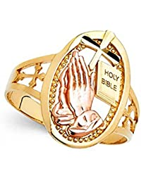 Cross Holy Bible Praying Hands Ring 14k Yellow Rose Gold Oval Religious Charm Band Solid 18MM