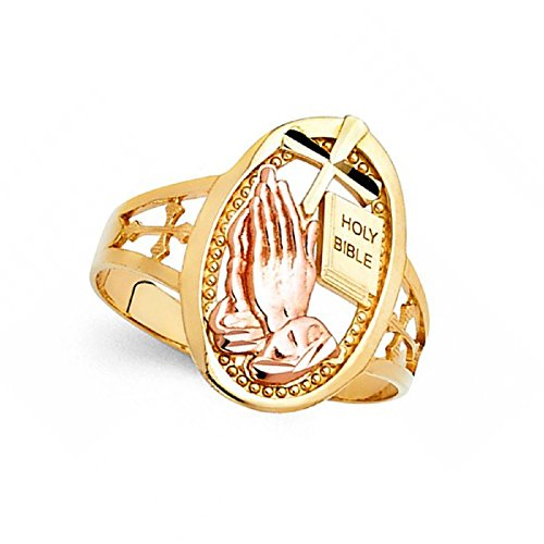 Cross Holy Bible Praying Hands Ring 14k Yellow Rose Gold Oval Religious Charm Band Solid 18MM Size 6.5
