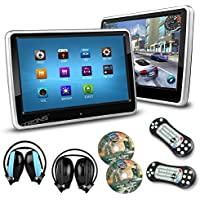 XTRONS 2x 10.1 Inch Twins HD Digital Touch Screen Car Headrest DVD Player Ultra-thin Detachable 2 IR Headphones Included