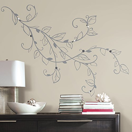 RMK3152GM Silver Leaf Giant Peel and Stick Wall Decals with (Deco Decal)