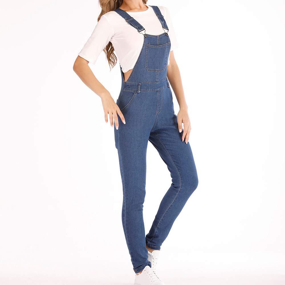 MerryDate Salopettes Jeans Pantalon Baggy Boyfriend Dungarees Svelte Pantalon Long Jean Denim pour Femme Sangles De Trou Combinaison Denim Femme Poche Barboteuse Pantalon
