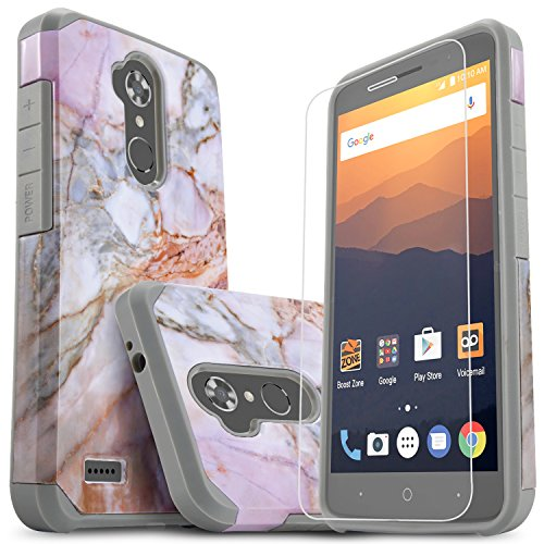 Star Shock Absorption Cases Compatible for ZTE MAX XL/ZTE Max Blue/ZTE Blade Max 3 Phone with [Premium HD Screen Protector Included] Dual Layers Impact Advanced Protective Cover-Marble Pattern