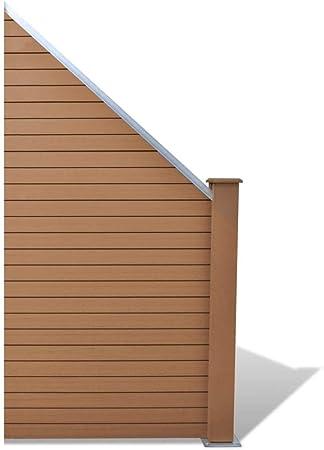 WPC Zaunelement braun 183*187 Sichtschutz Zaun 2 Pfosten Holzzaun Sichtelement