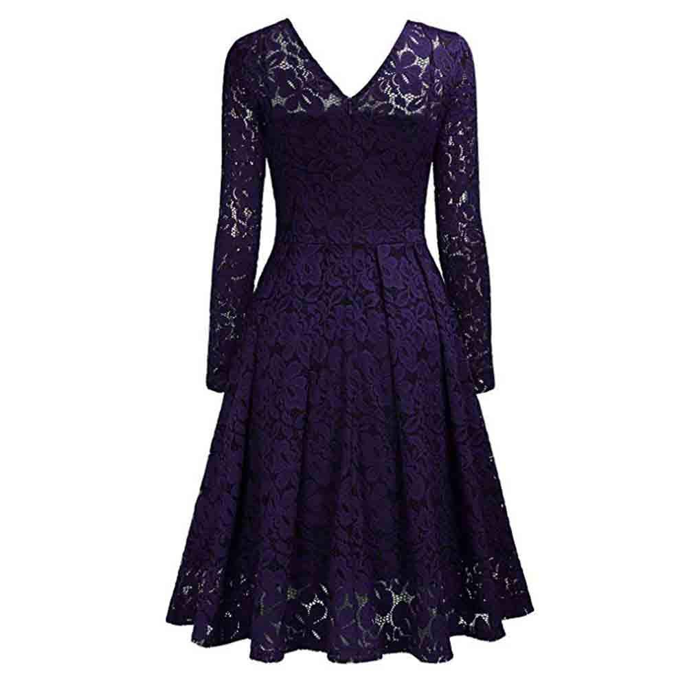 c738b7e4c K-Youth® Vintage Mujer Vestido de Noche Encaje Largo Traje Talla Grande  Elegante Vestido de Fiesta para Mujer Vestidos Flores de Manga Larga con  Cuello en V ...