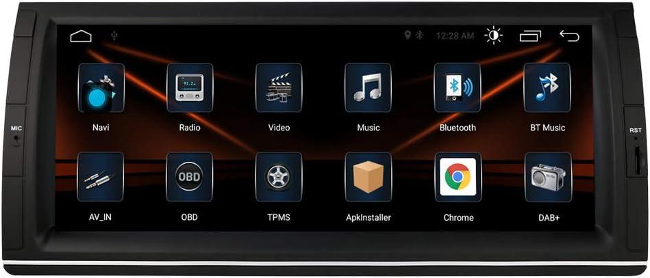 Radio de coche Android 10 OS con pantalla táctil de 10,25 pulgadas, compatible con BMW Serie 5 E39/X5 E53/M5/7, compatible con navegación GPS, WiFi y 4G USB, Bluetooth DAB
