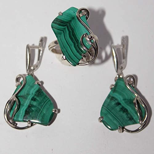 Christmas Jewellery Gift Set Earring Necklace Sterling Silver /& Green Malachite Gemstone Gift Set Earring Necklace Set